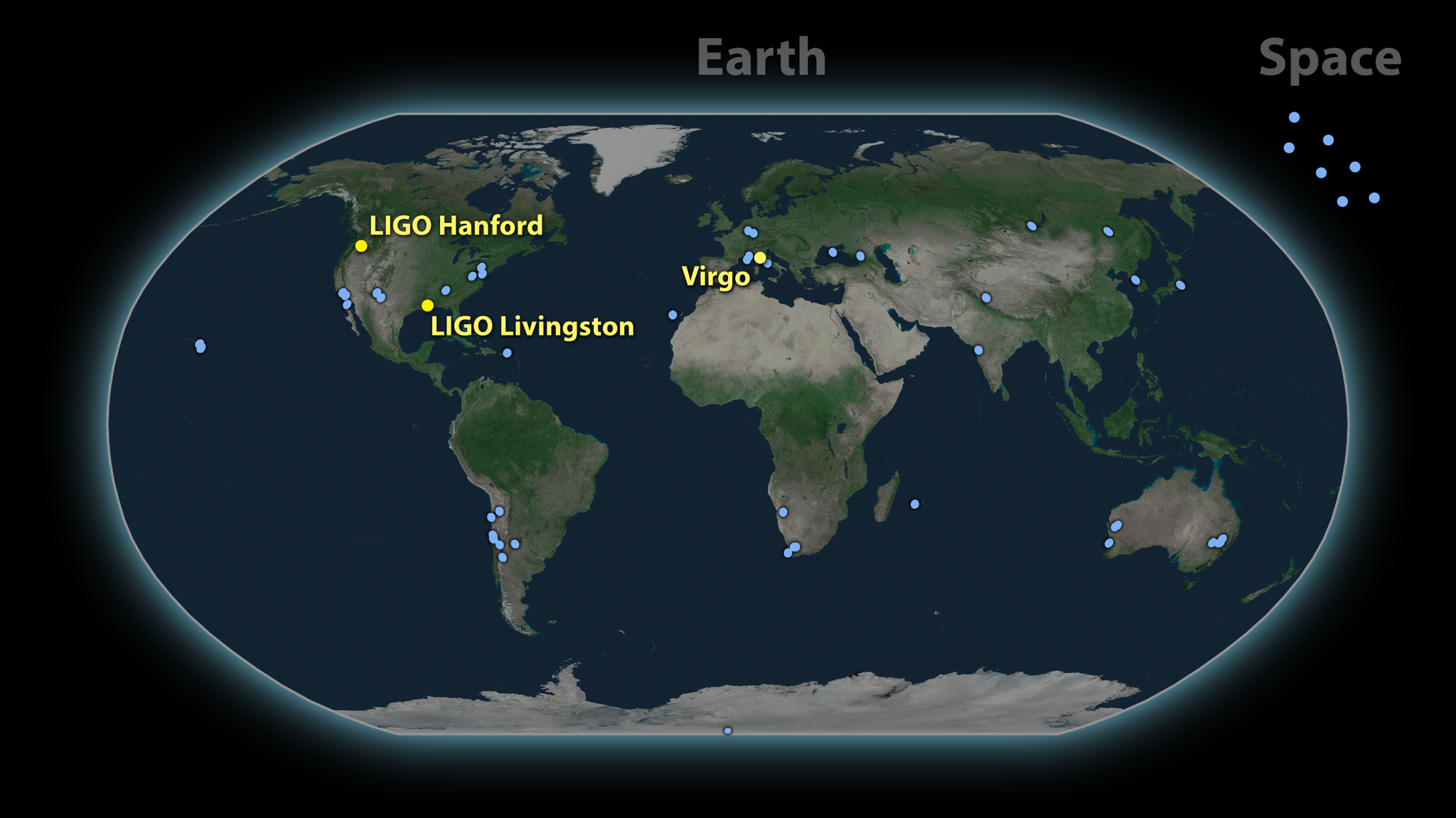 Map of observatories that contributed to the investigation