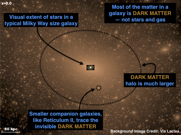 The distribution of dark matter around a galaxy like the Milky Way as predicted by the standard cosmological model with cold dark matter. Credit: Dark Energy Survey/Via Lactea.