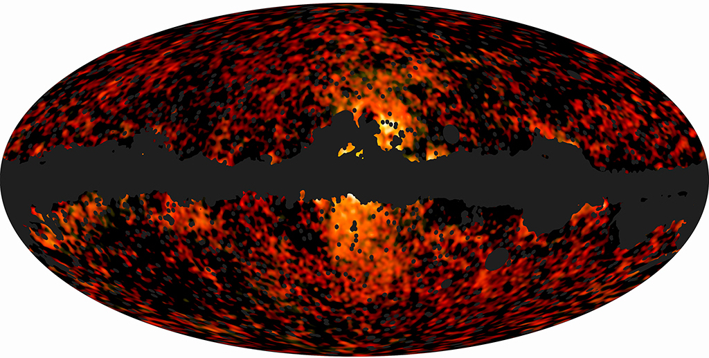 A map of the microwave emission after known contributions are subtracted, as observed by the Planck satellite.