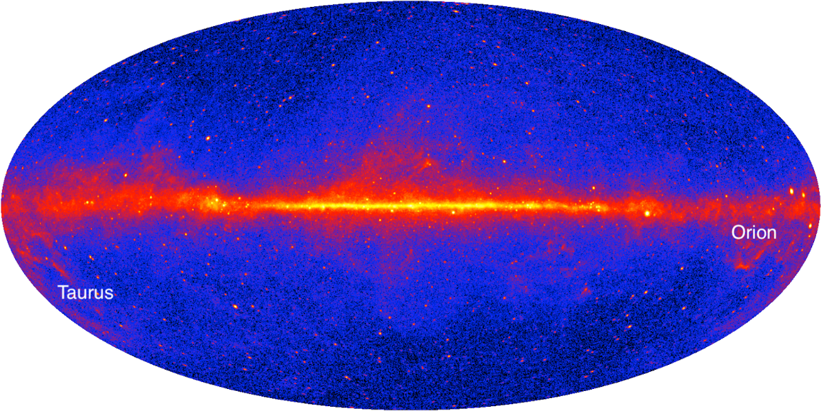 The gamma-ray sky seen by Fermi.