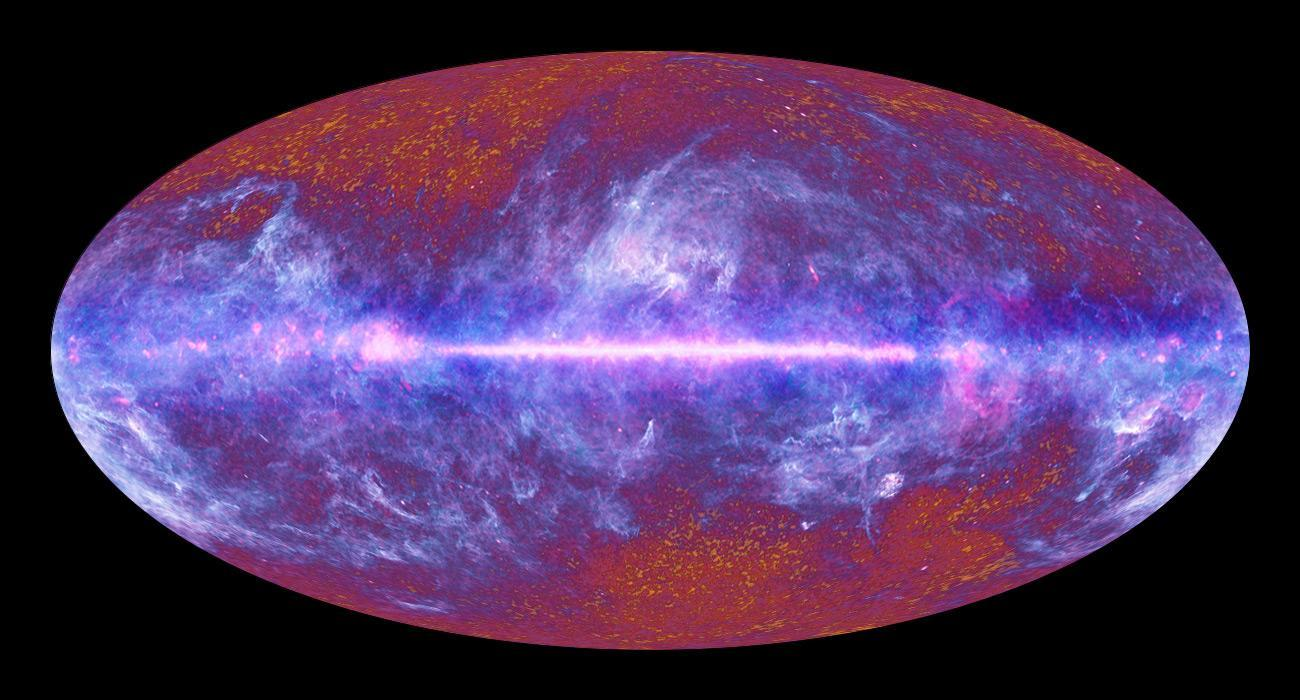 The Infrared/microwave sky seen by Planck.