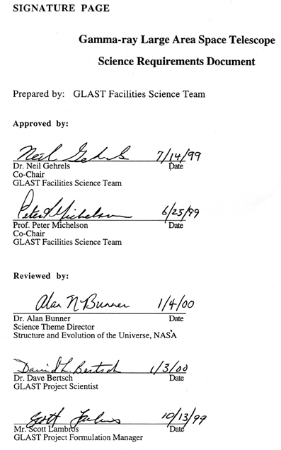 Signature page showing signatures of Co-chairs: Neil Gehrels and Peter Michelson, SEU Theme Director: Alan Bunner, Project Scientist: David Bertsch, and Project Formulation Manager: Scott Lambros