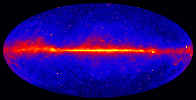 This view shows the entire sky at energies greater than 1 GeV based on five years of data from the LAT instrument on NASA's Fermi Gamma-ray Space Telescope. Brighter colors indicate brighter gamma-ray sources.